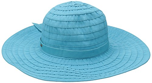 Scala Women's Sewn Ribbon Crusher Hat, Turquoise, One Size (Hat Crusher Ribbon)