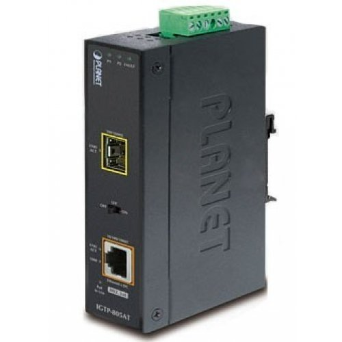 PLANET 10/100/1000Base-T to mini-GBIC Industrial Managed Media Converter (LC,MM/SM)-distance depending on SFP module (-30~75 degrees C) / IGT-905A / by Planet