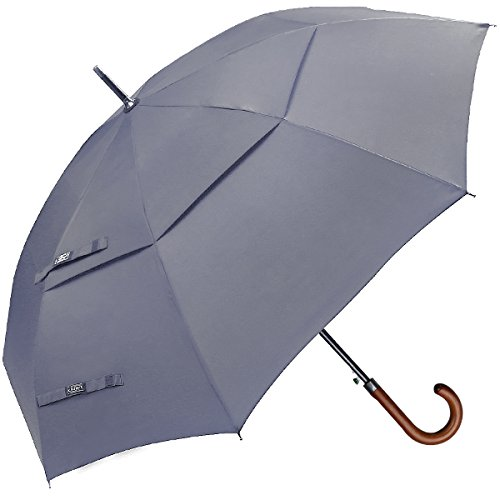 G4Free Wooden J Handle Classic Golf Umbrella Windproof Auto Open 52 inch Large Oversized Double Canopy Vented Stick Umbrellas for Men Women(Gray)