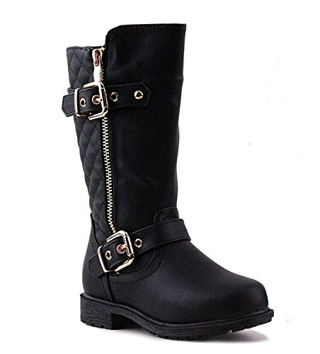 CC Girls Knee High Flat Riding Boots Quilted with Zipper Kids,Black, 4