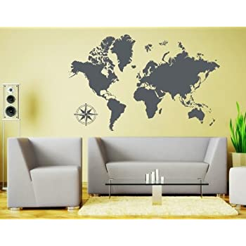 World map wall decal educational decals world map wall sticker style apply detailed world map wall decal by educational wall decal map sticker vinyl wall art geography decor 3712 dark gray 39in x 25in gumiabroncs Gallery