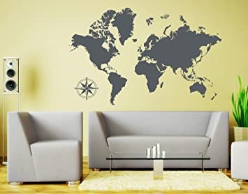 Amazon detailed world map wall decal by style apply detailed world map wall decal by style apply educational wall decal map sticker gumiabroncs Gallery
