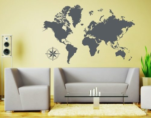 Landscape Wall Pocket - Style & Apply Detailed World Map Wall Decal Educational Wall Decal, Map Sticker, Vinyl Wall Art, Geography Decor - 3712 - Dark gray, 74in x 47in