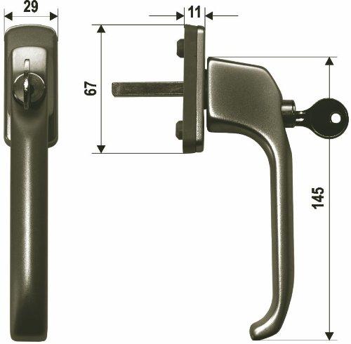 RAL 8019 35x10 mm Fenstergriff aus AluminiumDolly abschlie/ßbar 1 ST pulverbeschichtet braun
