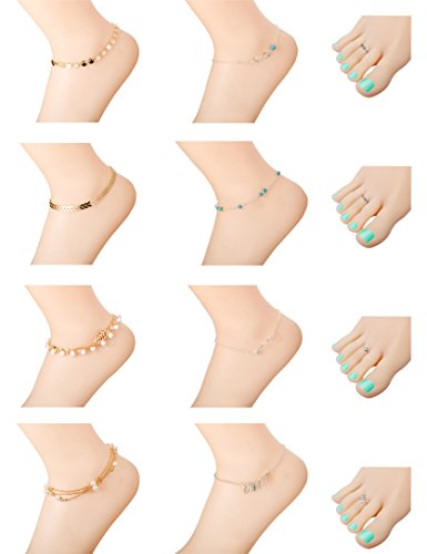 Milacolato 12Pcs Anklets for Women Girls Ankle Chains Bracelets Adjustable Toe Rings Set Beach Jewelry