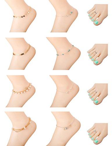 Milacolato 8Pcs Anklets for Women Girls Ankle Chains Bracelets Adjustable 4Pcs Toe Rings Set Beach (Bracelet Toe Ring)