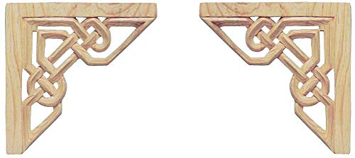 Wild Goose Carvings Irish Legacy Knotwork Arch. Small Size. 6¾ inches h x 6¾ in w x ½ in th Celtic Weave Crown Moldings Carved by Our Master Craftsman in Natural Pinewood. Supplied as a Matching Pair ()