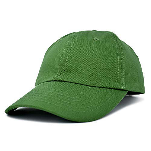 Dalix Unisex Unstructured Cotton Cap Adjustable Plain Hat, Olive
