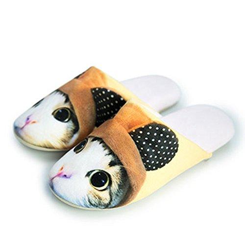 CYBLING Cute Animal Cat Dog Fashion Cartoon Light Soft Cozy House Cotton Slipper Non-Slip Deep Grey E3bP1AhakX