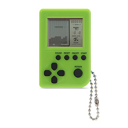 Mini Keychain Game (KincoBa Mini Keychain Pendant Game Tetris Game Toy Packaging Toys Built-in 26 Games (Green))