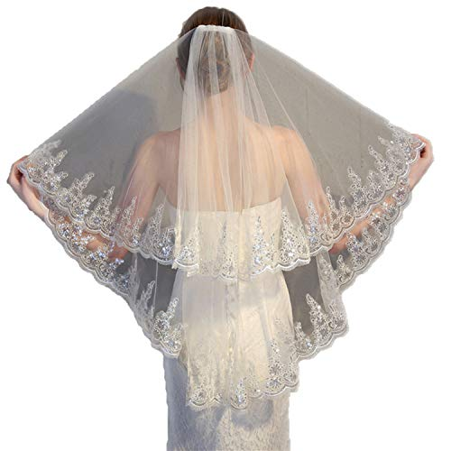 - 2 Tier Lace Sequins Edge Ivory Wedding Veil with Comb Fingertip Length