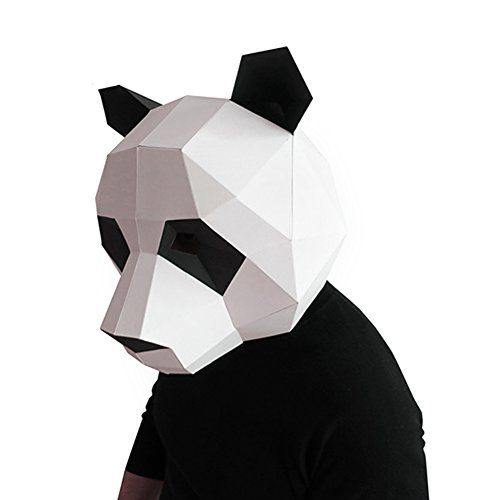 Geek-house Modern Aesthetics Low-Poly Mask DIY Paper Art Animal Series Headgear for Party Photography Decoration Panda Black+White for Adult -