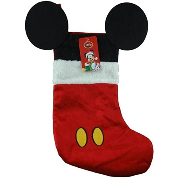 Amazon Com Disney Mouse Ears 18 Velour Christmas Stocking With Plush Cuff Mickey Mouse Red Home Kitchen