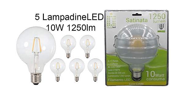 ILLUMILED - 5 bombillas LED de filamento, modelo Globo/Balón, 10 W ...