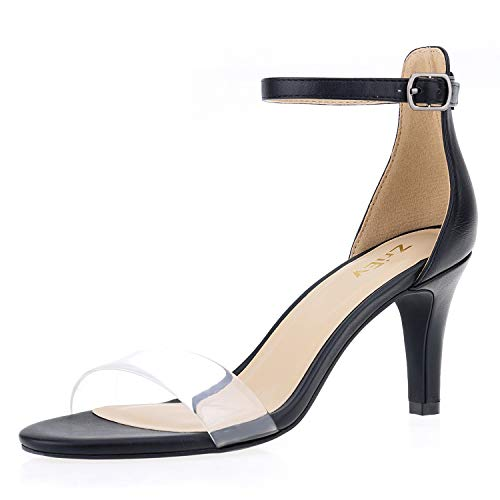 ZriEy Women's Heeled Sandals Ankle Strap High Heels 7CM Open Toe Mid Heel Sandals Bridal Party Shoes Black Clear Size 8