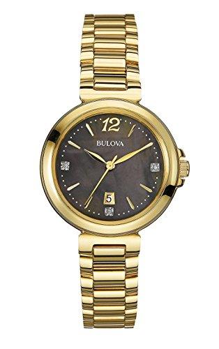 Bulova Women's 97P107XG Diamond Accents Black Dial Quartz Bracelet Watch (Certified (Bulova Ladies Black Dial Watch)