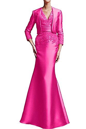 Spitze Abendkleider Pink Abschlussballkleider mia Langarm Promkleider La Etuikleider Damen Lang Trumpet Braut XxBTnwI