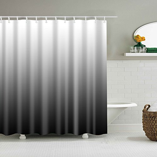 Cuga Mildew Resistant Anti-Bacterial Classic Print Bathroom Shower Curtain Polyester Fabric Waterproof With 12 Hooks by Cugap