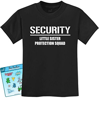 Gift for Big Brother - Security For My Little Sister Kids T-shirt X-Large Black (Big Sister Big Brother Shirts compare prices)