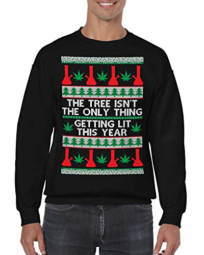 SpiritForged Apparel The Tree Isn't The Only Thing Getting Lit Crewneck Sweater, Black 3XL]()