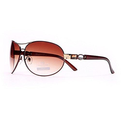 Anais Gvani Women's Glitzy Fashion UV 400 Protection Aviator Sunglasses w/ Gem Stones on Side Case Included - Gem Sunglasses