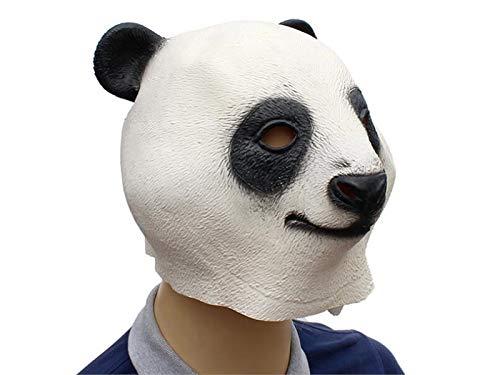 Yuchoi Funny Cute Latex Panda Mask Funny Latex Mask Head Cover Halloween Masquerade (White) by Yuchoi (Image #3)