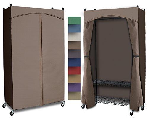 Portable Wardrobe Full Rod w/ Premium Cotton Canvas/Duck Cover (72-75Hx48Wx18D) Fudge Brown