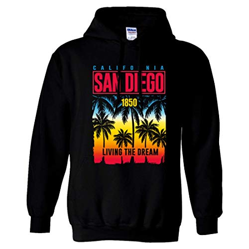 (San Diego Living The Dream Sweatshirt Hoodie - Black Small)