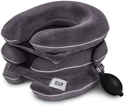 Best Cervical Neck Traction Device - Neck Stretcher - Cervical Collar for Decompression - Neck Pain Relief Devices - Inflatable Neck Brace Pillow Gray