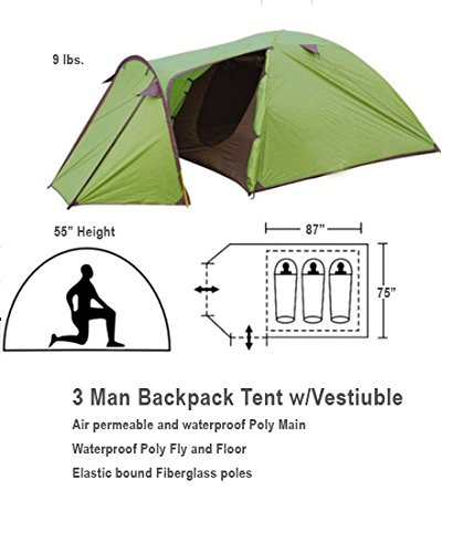 3 Man Tent with Large Vestibule