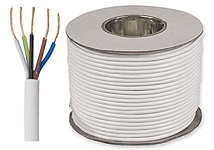 25 metros de color blanco Flex 3185Y 1 mm 10 AMP 5 Core Cable flexible