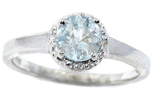 14Kt White Gold Genuine Aquamarine & Diamond Round Ring 14kt Genuine Birthstone Mothers Ring