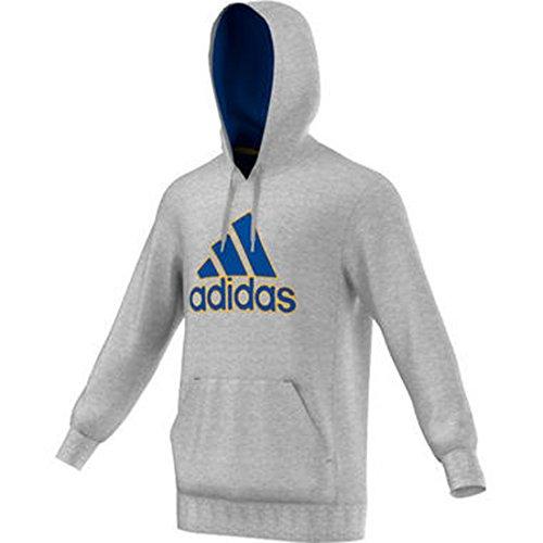 New Adidas Men's Essentials Heavyweight Logo Hoodie Medium Grey Heather/Blue (Adidas Heavyweight Sweatshirt)
