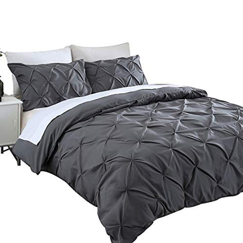 Auelife King Duvet Cover Set, 3 Pieces Pinch Pleat Pintuck Utral-Soft Brushed Microfiber Dark Grey Bedding Set with Corner Ties and Zipper Closure, Hypoallergenic, Easy Care, Wrinkle Resistant (Pinch Pleat Duvet Cover King)
