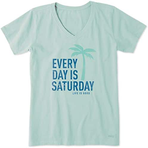 Life is Good. Womens Crusher Vee - Every Day is Saturday - Bermuda Blue