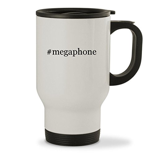 #megaphone - 14oz Hashtag Sturdy Stainless Steel Travel Mug, White