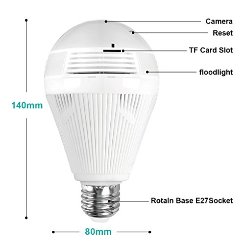 WiFi Light Bulb Camera, 360 VR Panoramic Wireless Security Bulb Camera, Remote Baby Pet Two-Way Audio Night Vision fisheye and Motion Detection, Works on iOS/Android Phone
