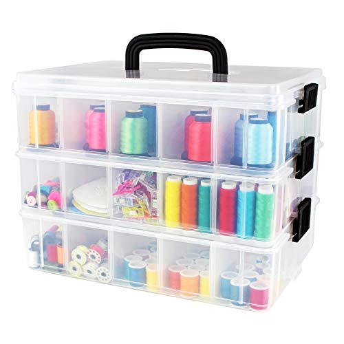Bins & Things Stackable Storage Containers with 30 Adjustable Compartments (13W x 9D 9.5H Inch) | 3-Tier Stackable Storage Bins for Arts and Crafts, Jewelry Making, Beads Organizer, Sewing -