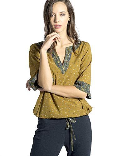 Mujer mustard Karang Blusa Para 19 Smash Amarillo qwtvS1BA
