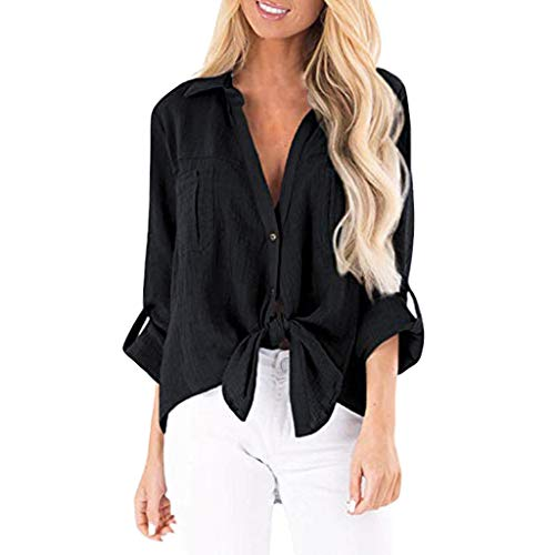 (〓COOlCCI〓Womens Button Down V Neck Shirts Long Sleeve Blouse Roll Up Cuffed Sleeve Casual Front Tie Knot Tops with Pockets Black)