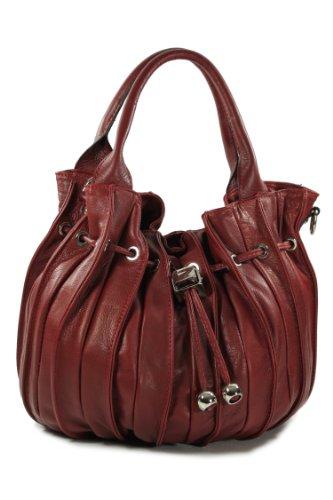 """Belli® """"Globe Bag"""" ital. Nappaleder Shopper Handtasche Beuteltasche bordeaux rot - 30x21x24 (B x H x T)"""