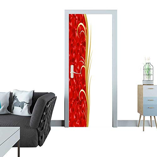 - Anmaseven Glass Door Sticker Decals Page Border Frame Red Rose Petals Golden Ornament 3D Door Sticker 35x83(90x210 cm)