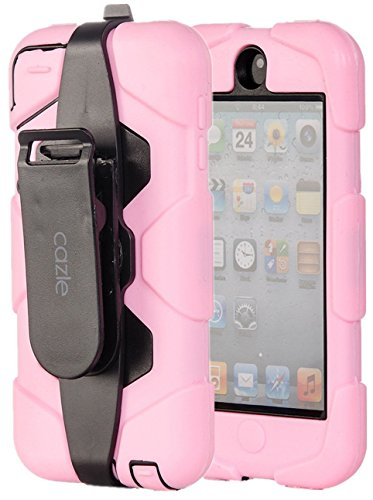 - iPod Touch, Extreme Protection Heavy Duty Hybrid Dual Layer Belt Clip Holster Case with Kickstand for Apple iPod Touch 6th Gen 5th Gen by Cazle (Light Pink)