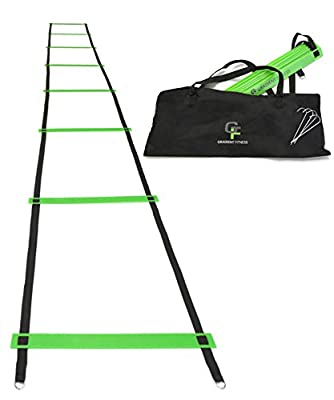 "Gradient Fitness Agility Ladder – Fully Customizable Speed Ladder – 15 Feet – Adjustable Rung Spacing from 18"" to 25"" – Improve Speed, Power, and Agility (Green and Black)"