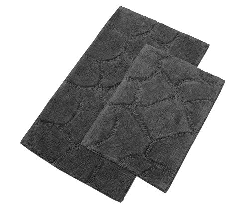 TreeWool Bathroom Rug - 2 Piece Set - Pebble Accent 100% Pure Cotton with Latex Sprayed Non-Skid Backing (21