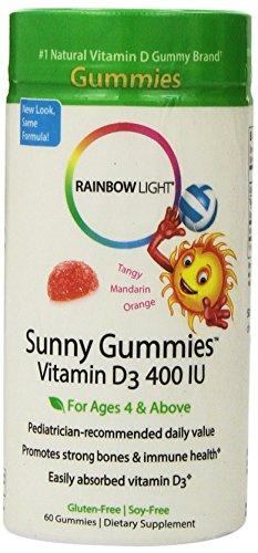 Arco iris luz vitamina D3 sol gomitas, 400 Iu, 60-Conde botella