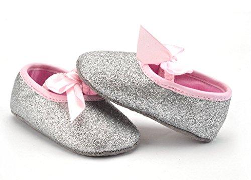 ma-on handgefertigt Silber glänzend Geschenkschatulle Schuhe Passform ein Jahr alt Baby Mädchen 12cm