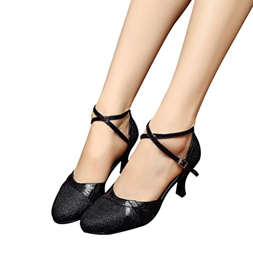 Bcln Womens Ballroom Dance Pumps Party Con Tacco 2,75 Nero