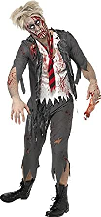 Smiffy's Men's High School Horror Zombie Schoolboy Costume, Jacket, Attached Shirt, Tie and pants, High School Horror, Halloween, Size M, 32928
