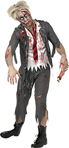 [Smiffy's Men's High School Horror Zombie Schoolboy Costume, Jacket, Attached Shirt, Tie and pants, High School Horror, Halloween, Size M,] (High School Zombie Costumes)